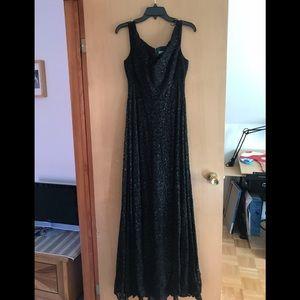 Ralph Lauren Black Lace Evening Gown